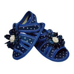 Sandália de Bebê com Flor e Pérolas Azul Marinho Poá