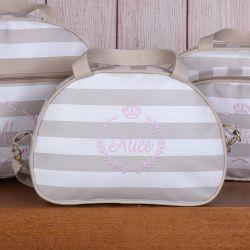 Frasqueira Maternidade Mônaco Nome Personalizado Bege/Rosa 35cm