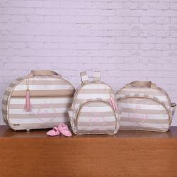Conjunto de Bolsas Maternidade Mônaco Nome Personalizado - Bege/Rosa