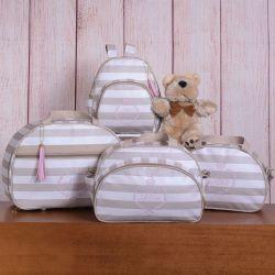 Conjunto de Bolsas Maternidade Mônaco Nome Personalizado Bege/Rosa