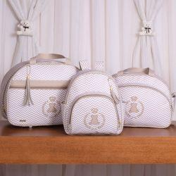 Conjunto de Bolsas Maternidade Ursinho Mini Chevron Bege