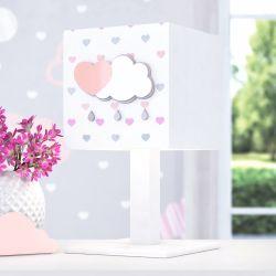 Abajur Madeira Chuva de Amor Rosa