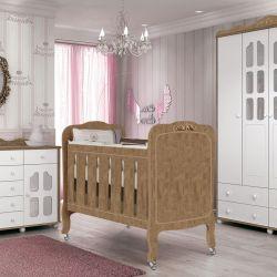 Quarto de Bebê New Provence Imperial Amêndoa Com Berço/Cômoda/Guarda-Roupa de 4 portas