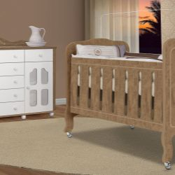 Quarto de Bebê New Provence Imperial Amêndoa Com Berço/Cômoda