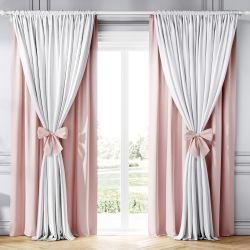 Cortina Clássica com Laços Rosa e Branco