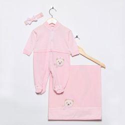 Saída Maternidade Listrada Ursinha de Cachecol Rosa