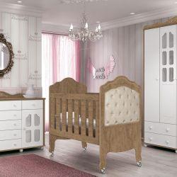 Quarto de Bebê New Provence Amêndoa Capitonê Com Berço/Cômoda/Guarda-Roupa de 4 portas