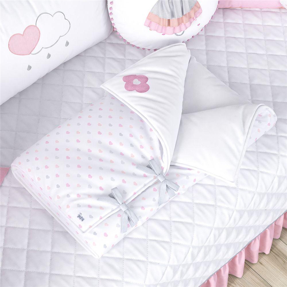Porta Bebê Menina Branco/Rosa Chuva de Amor Grão de Gente
