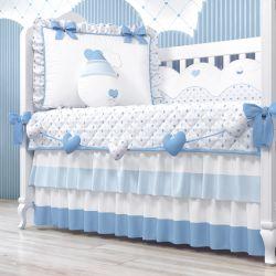 Varal Decorativo Corações Azul 1,30m