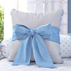 Almofada Laço Azul/Cinza 38cm