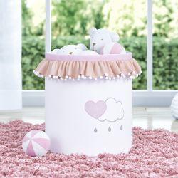 Cesto Organizador para Brinquedos Pompom e Babado Chuva de Amor 35cm