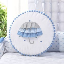 Almofada Redonda Pompom Guarda-Chuva Azul 35cm