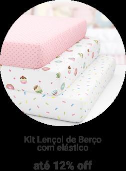 Kit Lençol de Berço com elástico a partir de 12x de R$9,65