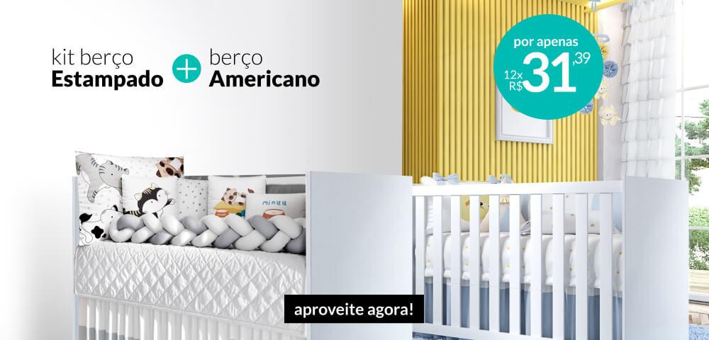 kit berço estampado + berço americano