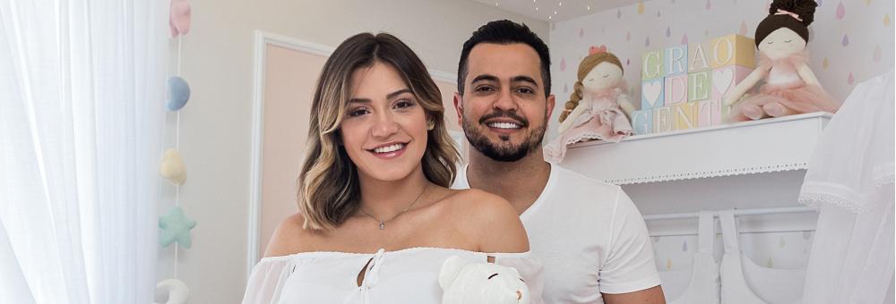 Henrique Teixeira e Raíssa Naves escolhem o estilo fresh romântico do Tricot Poá Salmão para o quarto da Luiza